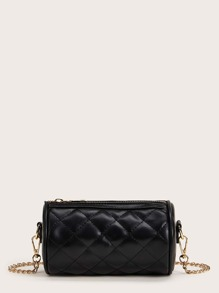 Quilted Cylinder Chain Crossbody Bag