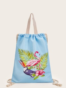 Flamingo Graphic Backpack With Drawstring