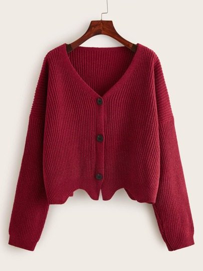 Single Breasted Drop Shoulder Solid Cardigan