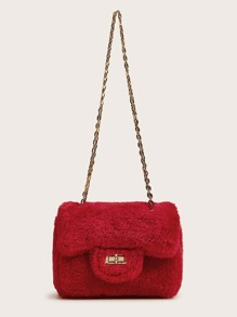 Mini Twist Lock Fluffy Chain Bag