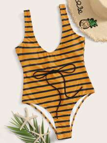 Striped Tie Waist One Piece Swimwear