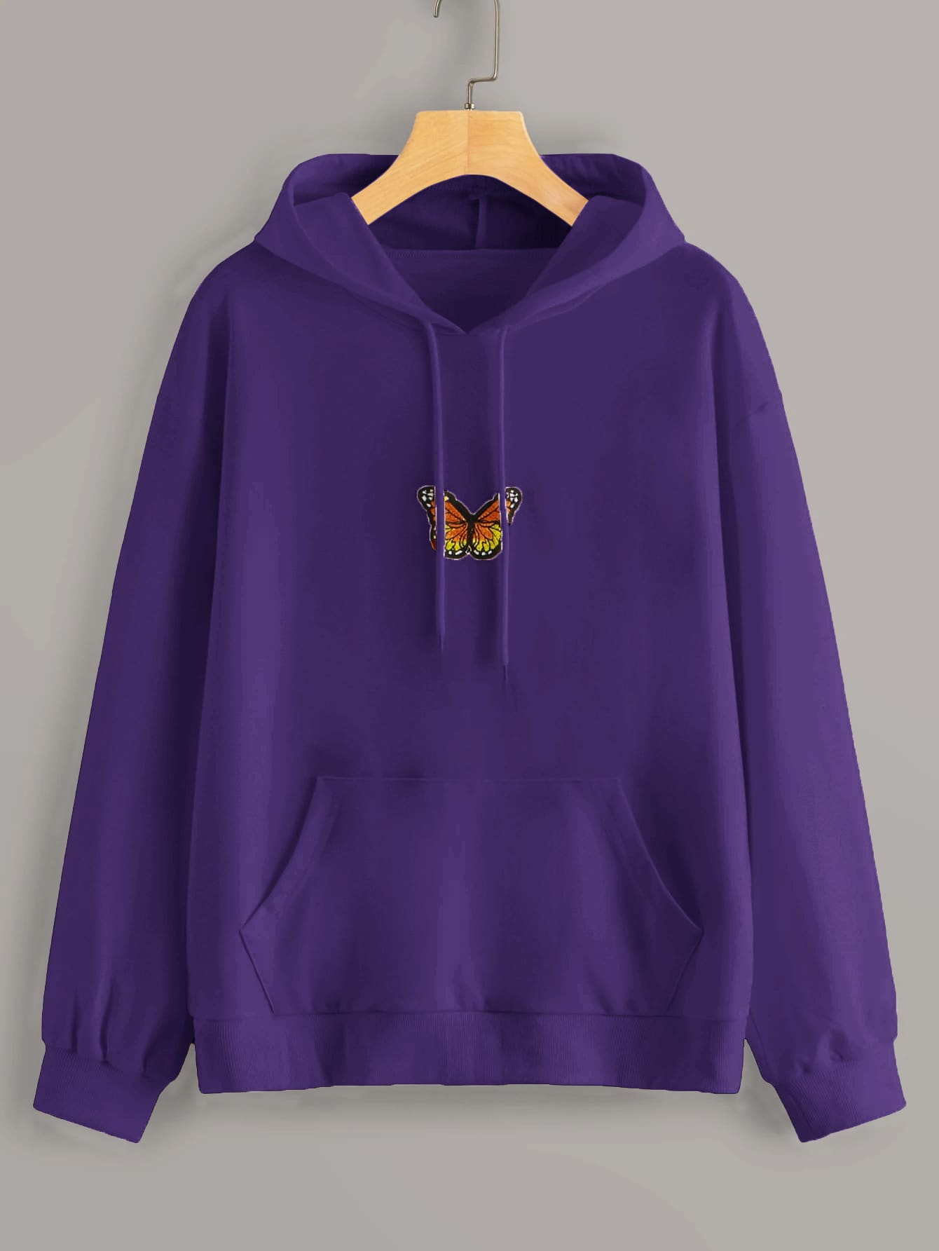 Butterfly Patched Kangaroo Pocket Hoodie thumbnail