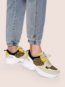 Leopard Panel Lace Up Chunky Sneakers