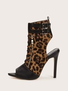 Leopard Open Back Zipper & Buckle Detail Heels