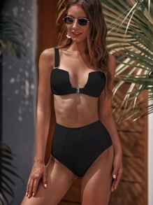 Underwire Top With High Waist Bikini Set