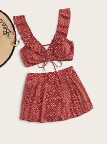 Polka Dot Ruffle Trim Top With Skirt 2piece Swim