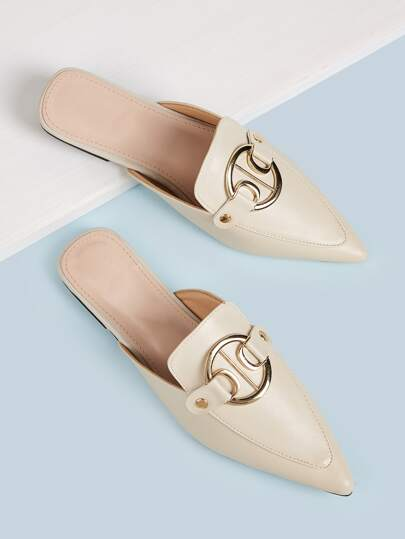 Metal Ring Detail Pointed Toe Mule Flats