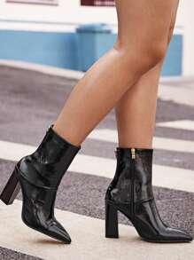 Double Zipper Block Heel Boots