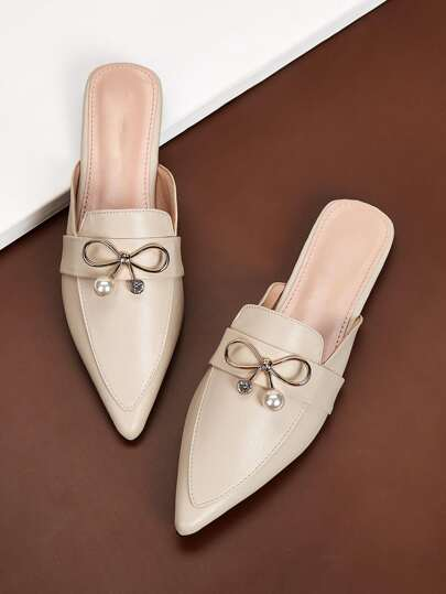 Metal Bow Detail Pointed Toe Mule Flats