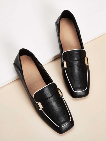 Square Toe Metal Front Loafers