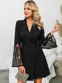 Glamaker Lace Bell Sleeve Double Button Blazer Dress