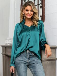 Glamaker Frilled Neckline Raglan Sleeve Satin Top