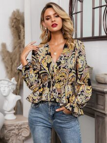 Glamaker Tribal Print Peplum Top