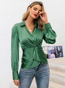 Glamaker Twist Front Satin top