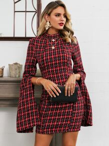 Glamaker Plaid Backless Split Sleeve Tweed Bodycon Dress