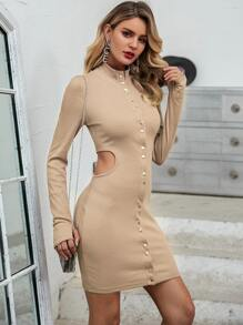 Glamaker Press Button Front Cut-out Bodycon Dress