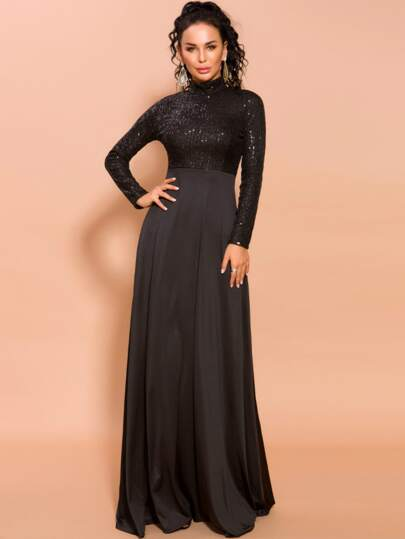 Missord Mock-neck Sequin Fit & Flare Prom Dress
