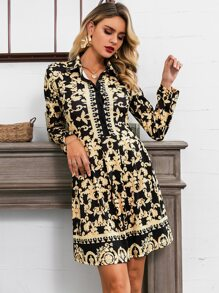 Glamaker Scroll Print Button Front Shirt Dress