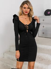Glamaker Lace Up Ruched Ruffle Armhole Bodycon Dress