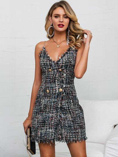 Glamaker Double Button Raw Hem Tweed Cami Dress