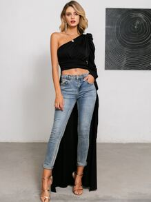 Glamaker One Shoulder Gigot Sleeve High Low Top