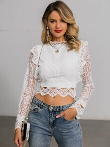 Glamaker Zip Back Guipure Lace Crop Top
