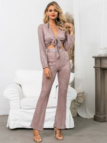 Glamaker Tie Front Sequin Crop Top & Boot-cut Pants Set