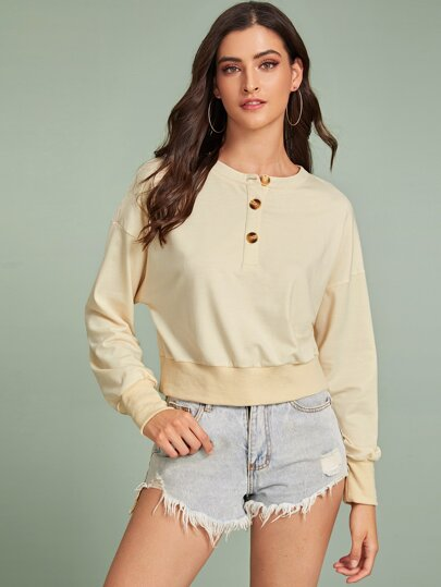 Solid Drop Shoulder Button Front Sweatshirt