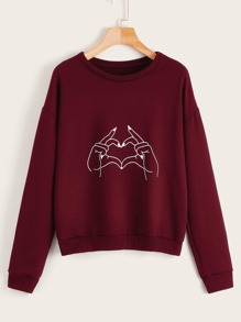 Gesture Graphic Round Neck Sweatshirt
