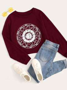 Constellation Disk Print Raglan Sleeve Sweatshirt