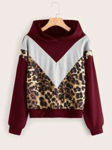 Contrast Leopard Color-Block Hooded Sweatshirt