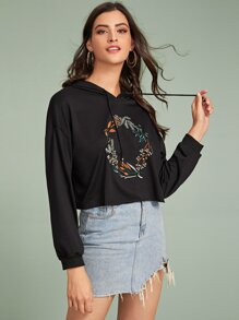 Plant Embroidered Floral Drawstring Hooded Crop Sweatshirt