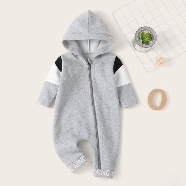 Baby Boy Letter Graphic Oblique Zipper Hooded Jumpsuit, Grey