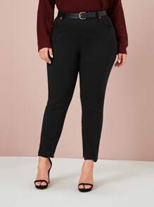 Plus Button Detail Solid Skinny Jeans Without Belt