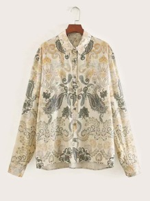 Paisley Print Button Through Blouse
