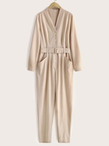 Button Front Dual Pocket Belted Jumpsuit