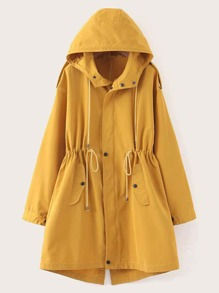 Drawstring Split Back Hooded Coat