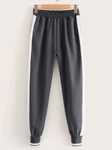 Contrast Panel Elastic Waist Sweatpants