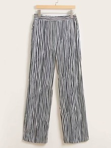 Striped Pattern Straight Leg Pants