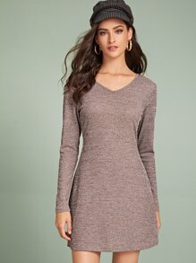 V-Neck Space Dye Ribbed Dress