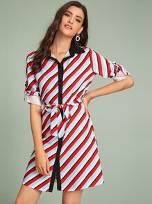 Striped Belted Roll Up Sleeve Shirt Dress