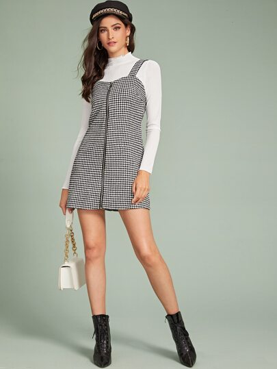 Houndstooth Print O-Ring Zip Up Pinafore Dress