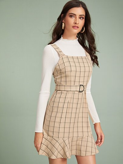 Plaid Belted Flounce Hem Pinafore Dress