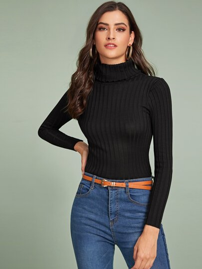 Solid Turtleneck Ribbed Knit Sweater