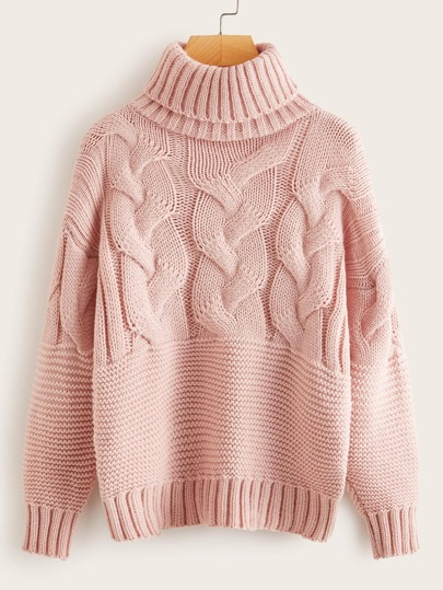 Turtleneck Cable Knit Solid Sweater