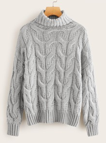 Turtleneck Cable Knit Solid Jumper