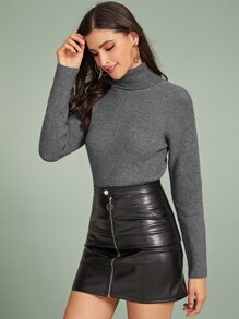 Turtleneck Solid Ribbed Knit Sweater