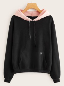Emoji Patched Color-Block Kangaroo Pocket Hoodie