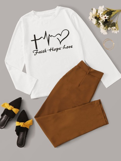 Letter And Graphic Print Tee & Belted Pants