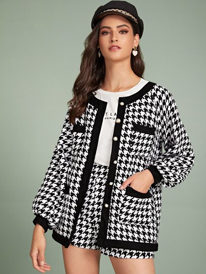 Houndstooth Print Button Through Jacket & Shorts